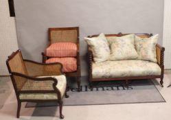 A late 19th century mahogany framed bergere sofa, 124cm wide,