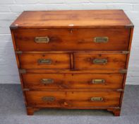 A campaign style brass bound yew secretaire chest,
