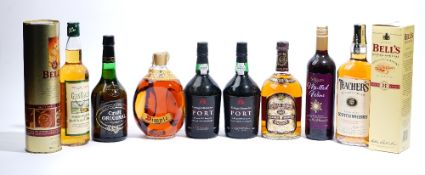 Mixed spirits and wine, comprising; John Haig Dimple Whisky, Chivas Regal Whisky, Teachers Whisky,