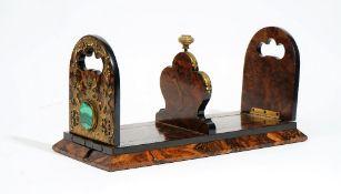 A Victorian coromandel wood, gilt metal mounted adjustable book rack,