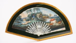 A Continental painted paper fan, late 18th century,