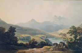 English School, 19th Century, A mountainous landscape, watercolour, 26 x 40cm,