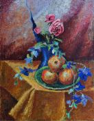 Charles C Sargeant (British, 20th Century), Still life of a rose and fruit, initialled (lower left),