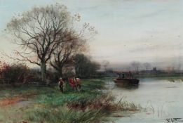 Henry Charles Fox (British, 1855-1929), A horse towing a barge, signed and dated '1903',