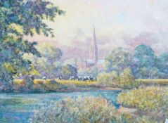 Clive Pryke (British, 20th Century), A view of a Cathedral, signed 'Clive Pryke' (lower left),
