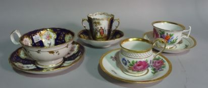Ceramics, cups and saucers, including Meissen and a twin handled Rosenthal cup and saucer (8).