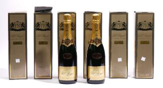 Six bottles of 1993 Pol Roger Brut Chardonnay Champagne, boxed.