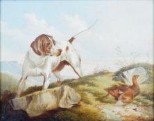 Paul Jones (British, fl. 1855-1888), Pointer and partridge, oil on canvas, 20 x 24cm.