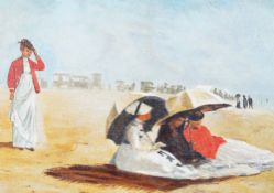 Manner of Eugène Boudin, Ladies on the beach, oil on canvasboard, 40 x 57cm.