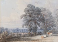 Follower of Thomas Baker of Leamington, Two figures on a bridge in a landscape, watercolour,