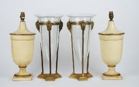 A pair of modern cream painted and gilt banded pottery table lamps, each of urn form, 39cm high,