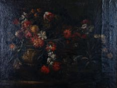 Flemish School, 18th Century, Flowerpiece, oil on canvas, 77 x 103cm.