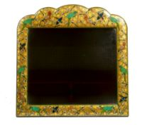 A Kashmiri green japanned and polychrome painted mirror, circa 1920, in late 17th century style,
