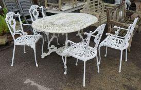 A modern white painted aluminium oval garden table,