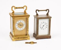 A French gilt brass carriage clock, with visible platform escapement,