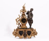 A French gilt spelter and black slate mantel clock,