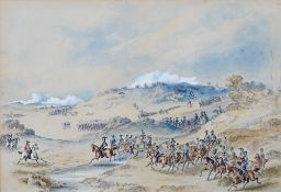 English School, 19th Century, A military engagement, The King's Troop, watercolour and gouache,
