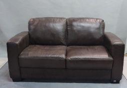 A modern hardwood framed two-seater sofa with faux leather upholstery, 160cm wide x 70cm high.
