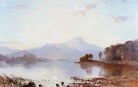 Circle of Charles Leslie, Mountainous lake scene, oil on canvas, 57 x 90cm.