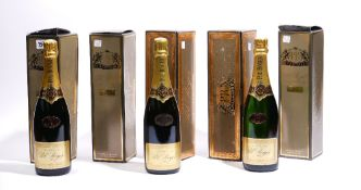 Five bottles of Pol Roger Brut Chardonnay Champagne, boxed, three 1993 and two 1990.