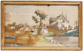 A 19th century rectangular silkwork tapestry panel of a farmyard scene, 46cm x 28cm.