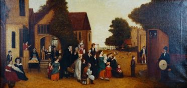 English Provincial School, 19th Century, The Punch & Judy Show, oil on canvas, 50.5 x 107.5cm.