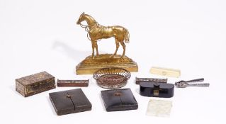 Two 19th century portrait minature cases, a mother-of-pearl visiting card case,