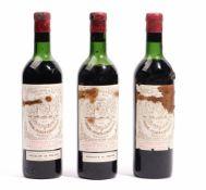 Three bottles of 1959 Chateau Pichon-Longueville, Baron Pauillac.