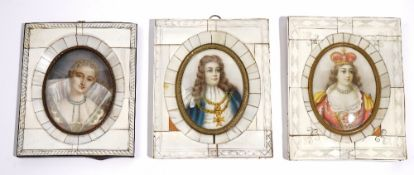 A group of three half-length oval portrait miniatures, early 20th century,