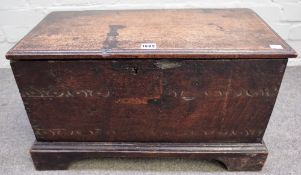 An oak planked coffer, 17th century, of small proportions,