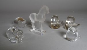 A group of miniature decorative glass animal models including a small Lalique horse 9cm high.