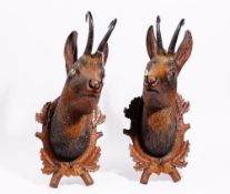 A pair of 19th century Black Forest carved lime wood chamois heads with natural horn,