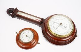 A Victorian mahogany cased wheel barometer, the white enamel dial signed D.