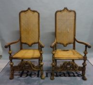 A set of four 19th century Flemish style highback open armchairs on turned supports,