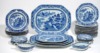 A Chinese export blue and white part service, late 18th/early 19th century,