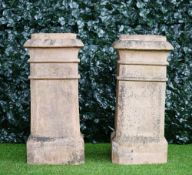Doulton Lambeth; a pair of stepped square terracotta chimney pots, 37cm wide x 80cm high, (2).