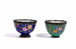 Two small enamelled cups, probably Turkish, 19th century,