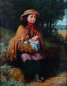 Robert Collinson (British, 1832-?), A girl seated holding a wicker basket,