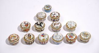 A collection of thirteen Halcyon Day's enamel boxes, (13).