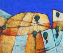 E*** J*** (20th Century), Abstract landscape in colour, initialled 'EJ' (lower right),