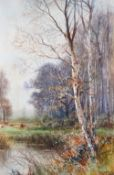 Henry Charles Fox (British 1855-1929), Woodland pool, signed and dated '1916', watercolour, 52 x 34.