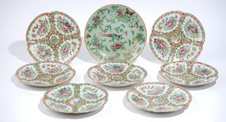 Seven Canton famille-rose plates, late 19th century, of quatrelobed form,