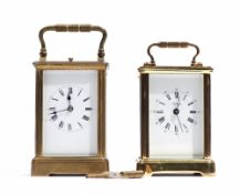 A French brass carriage clock, late 19th century, with visible platform lever escapement,