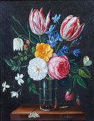 C. Lutchens (early 20th century), Floral still life, oil on panel, signed, 25 x 19cm.