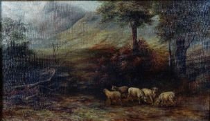 G*** H*** Tiede (European, late 19th/early 20th Century), Sheep in a mountainous landscape,