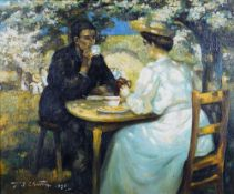 T J Chant*** (European, 20th Century), A couple taking tea in a garden,