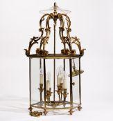 A George III style gilt metal, glazed hall lantern, of hexagonal form,