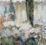 Continental School, early 20th Century, Untitled, Trees and buildings abstract, oil on canvas, 82.