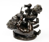 After Clodion, Two putti and a swan, bronze, 22cm x 25cm.
