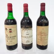 Three bottles of wine including: Chateau des Rochers Bordeaux 1971;